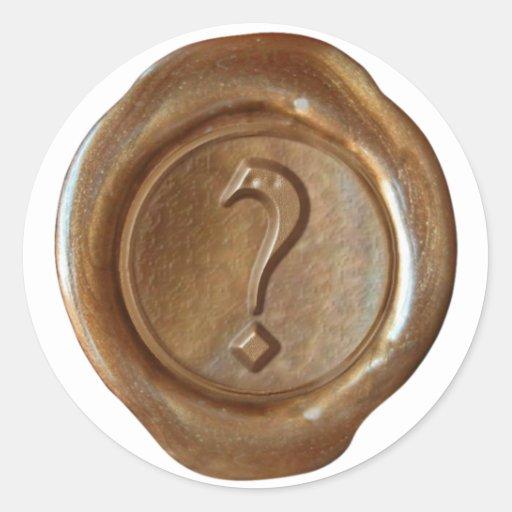 ¿Monograma del sello de la cera - cobre - viejo Pegatina Redonda