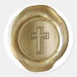 Monograma del sello de la cera - oro - Cross2 - Etiqueta Redonda