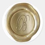 Monograma del sello de la cera - oro - escritura B Pegatinas