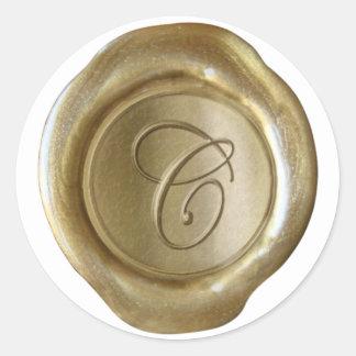 Monograma del sello de la cera - oro - escritura C Etiquetas Redondas