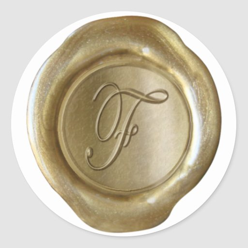 Monograma del sello de la cera - oro - escritura F Pegatina Redonda