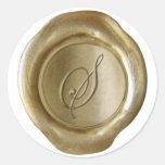 Monograma del sello de la cera - oro - escritura - pegatinas redondas