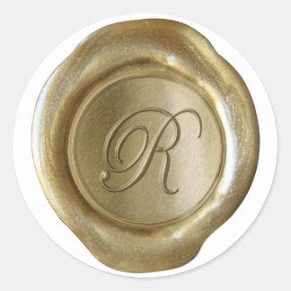 Monograma del sello de la cera - oro - escritura R Pegatina Redonda