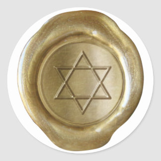 Monograma del sello de la cera - oro - estrella de pegatina redonda