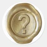¿Monograma del sello de la cera - oro - intrépido? Etiquetas Redondas