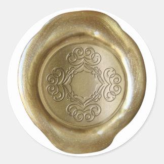 Monograma del sello de la cera - oro - modelo de B Etiqueta Redonda