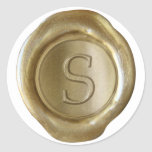 Monograma del sello de la cera - oro - trazo de pegatina redonda