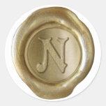 Monograma del sello de la cera - oro - Victorian N Etiqueta Redonda