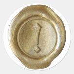 ¡Monograma del sello de la cera - oro - viejo ingl Pegatinas