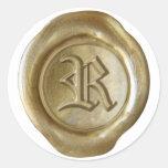 Monograma del sello de la cera - oro - viejo inglé pegatina redonda