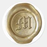 Monograma del sello de la cera - oro - viejo inglé etiquetas redondas