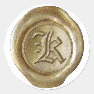 Monograma del sello de la cera - oro - viejo inglé pegatinas redondas