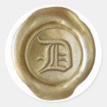 Monograma del sello de la cera - oro - viejo inglé etiquetas