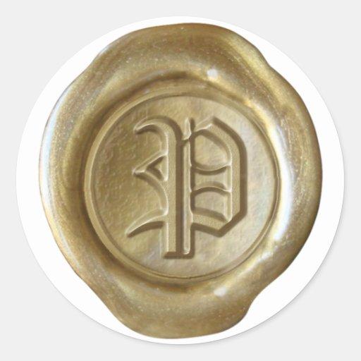 Monograma del sello de la cera - oro - viejo pegatinas redondas