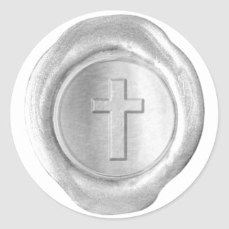 Monograma del sello de la cera - plata - cruz - pegatina redonda
