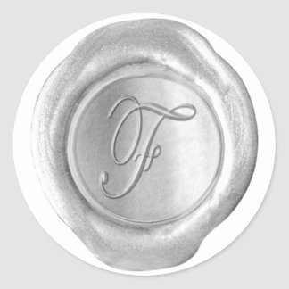 Monograma del sello de la cera - plata - escritura etiquetas
