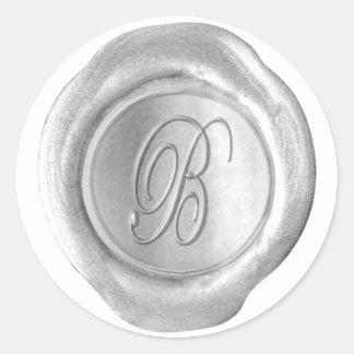 Monograma del sello de la cera - plata - escritura etiquetas redondas