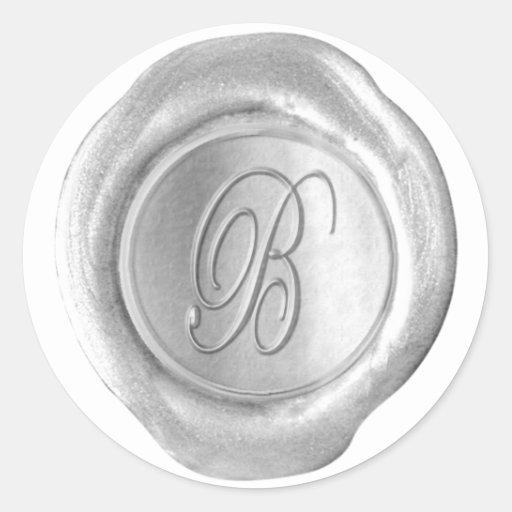 Monograma del sello de la cera - plata - escritura pegatina redonda