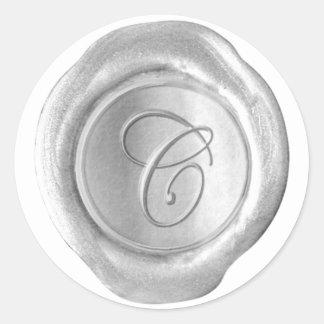 Monograma del sello de la cera - plata - escritura pegatina