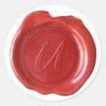 Monograma del sello de la cera - rojo - U Pegatinas Redondas