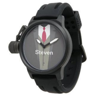 Monograma del traje de negocios de los hombres reloj