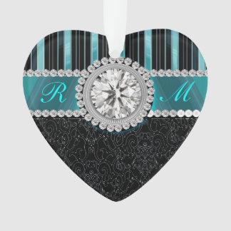 Monograma del trullo, de plata y negro del diamant