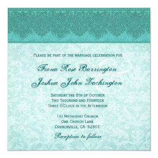 Monograma del trullo y del damasco de la verde invitación 13,3 cm x 13,3cm