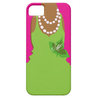 Monograma del verde del rosa de la vida de la herm iPhone 5 protectores