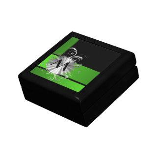 Monograma del verde vivo y del negro caja de joyas
