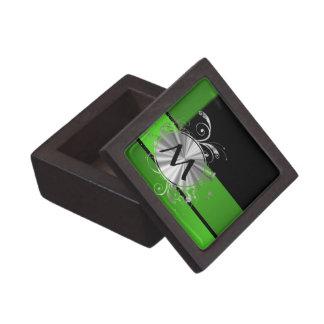 Monograma del verde vivo y del negro caja de recuerdo de calidad