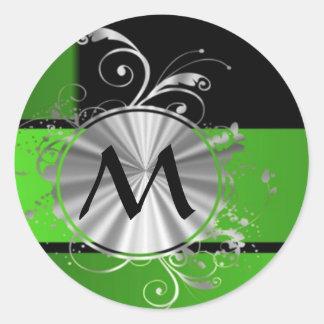 Monograma del verde vivo y del negro pegatina redonda