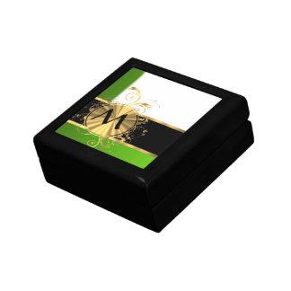 Monograma del verde vivo y del oro caja de regalo