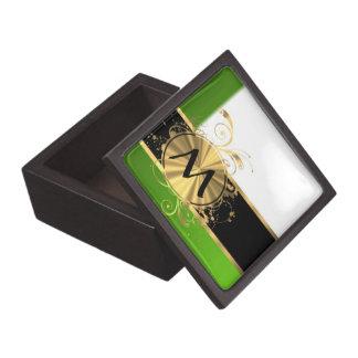 Monograma del verde vivo y del oro caja de regalo de calidad