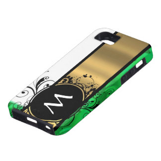 Monograma del verde vivo y del oro iPhone 5 Case-Mate coberturas