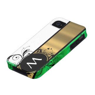 Monograma del verde vivo y del oro iPhone 4/4S fundas