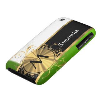 Monograma del verde vivo y del oro iPhone 3 cobertura