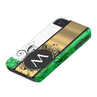 Monograma del verde vivo y del oro iPhone 4 Case-Mate fundas