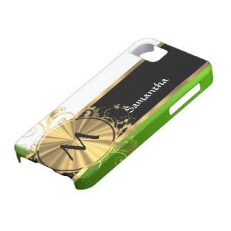 Monograma del verde vivo y del oro iPhone 5 coberturas