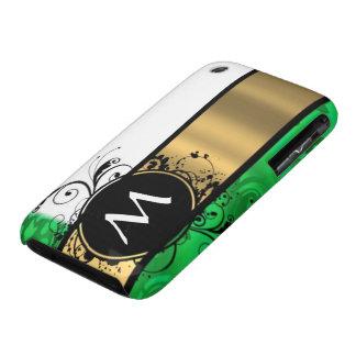 Monograma del verde vivo y del oro Case-Mate iPhone 3 protectores