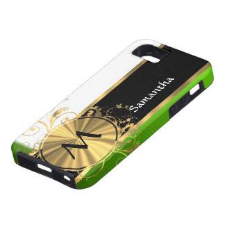 Monograma del verde vivo y del oro iPhone 5 fundas
