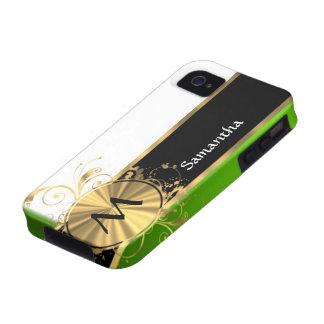 Monograma del verde vivo y del oro Case-Mate iPhone 4 fundas