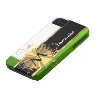 Monograma del verde vivo y del oro iPhone 4 Case-Mate cárcasa