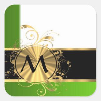 Monograma del verde vivo y del oro pegatina cuadrada