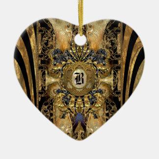 Monograma del Victorian de Abasham Adorno Navideño De Cerámica En Forma De Corazón