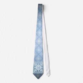 Monograma del vintage (azules claros) corbatas personalizadas