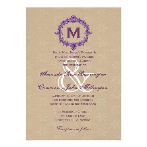Monograma del vintage de la púrpura y del moreno q comunicados personalizados