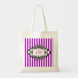 Monograma del vintage de la raya del caramelo bolsas de mano