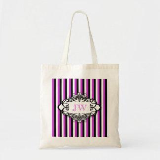 Monograma del vintage de la raya del caramelo bolsa de mano