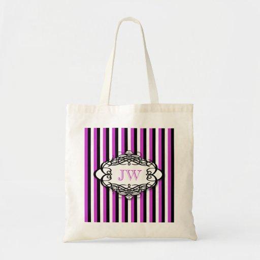 Monograma del vintage de la raya del caramelo bolsa tela barata