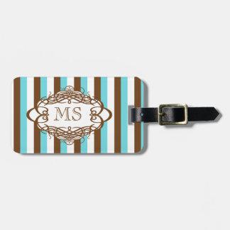 Monograma del vintage de la raya del caramelo etiqueta de equipaje